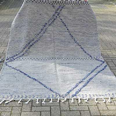 Beni Ouarain Tapis oriental Zanafi Berber - 100 % laine naturelle tissée à la main - Forme diamant - 247 x 165 cm