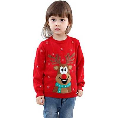 shineflow Rudolph Reindeer - Nez Rouge, Pull-Over de Chandail de Noël Unisexe pour Filles et garçons (Rouge 2, 3 Ans)