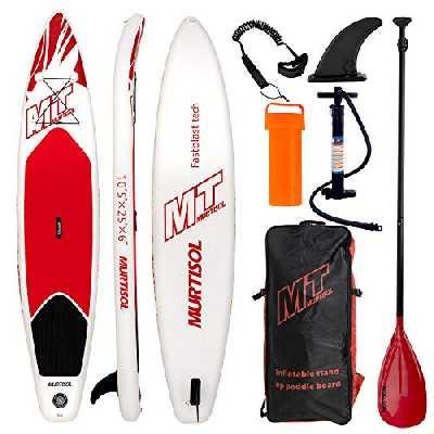 Murtisol 10'5 ''Gonflable Stand Up Paddle Board (25in Width), PVC Ultra-épais Durable, Plate-Forme antidérapante, Accessoires Haut de Gamme, Pompe à Double Action, Pagaie Ajustable,Rouge