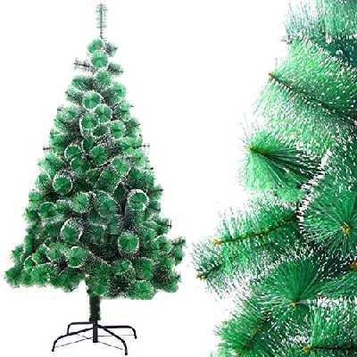 Dison Toys Sapin de Noël artificiel naturel en pin blanc neige arbre décoratif vert avec support en métal Décoration de Noël 150 cm 138 tips 150 cm