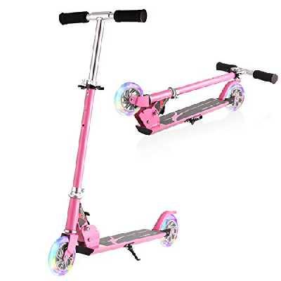 WeSkate Trottinette Pliable 2 Roues pour Enfant de 4 À 10 Ans Scooter Ajustable sur 3 Niveaux pour Filles et Garçons,50kg de Chargement Maximal(Rose)
