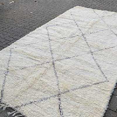 Tapis marocain Beni ourain Berber - Tapis oriental - 100 % laine naturelle tissée à la main - Forme diamant - 350 x 193 cm
