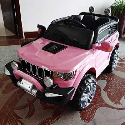 Voiture électrique pour enfants, voiture Jeep 2 places, 4 WD 12 V avec télécommande USB MP3 (Rose)