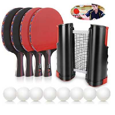 Achort Raquette de Ping Pong Set, Jeu de ping-Pong avec 4 Raquette de Tennis de Table + Rétractable Filet de Table Tennis + 8 Balle, Portable Ping-Pong Accessoire pour Les Jeux Professionnels
