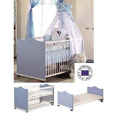 Lit Bébé Évolutif Berceau Lit junior en Bois Prince 140x70 cm + Matelas + Sommier à lattes + Set de lit + Ciel