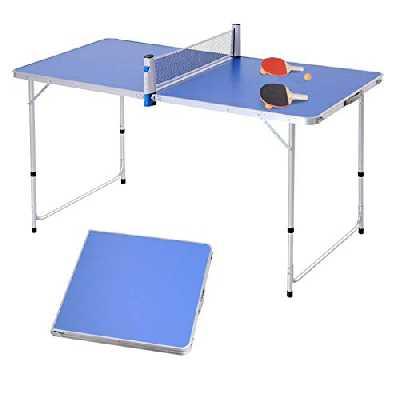 Outsunny Table de ping Pong Camping 2 en 1 - Table Pliante - Hauteur réglable - 2 Raquettes + 3 balles fournies - alu. MDF Bleu