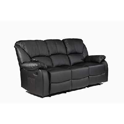 ECODE Canapé 3 places inclinable avec massage par ondulation vibrante, chaleur lombaire, similicuir ECO-8590/3 noir