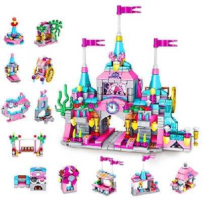 VATOS - Jeu de Construction pour Filles, Château de Princesse, Kit de Construction avec des Briques pour Enfants, 25 Styles de Jeu et 568 Pièces,Cadeaux de Filles pour les 6, 7, 8, 9 Ans