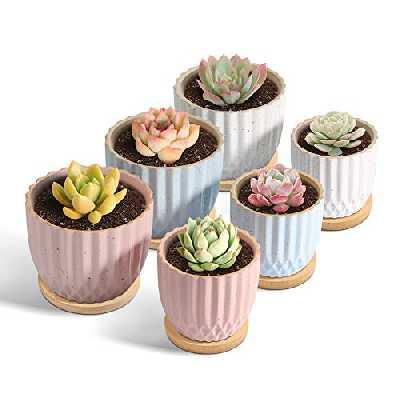 T4U 9CM Pot de Fleur, Succulent Pots de Plantes avec Plateau Bambou Lot de 6, Mini Moderne Céramique Cactus Jardinières de Fleurs, Décoration de Maison Jardin Bureau Cadeau