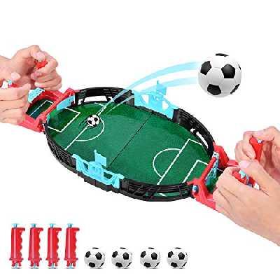 Kriogor Mini Jeux de Football, Jeux de Table de Baby-Foot,Mini Bureau de Football de Bureau pour Garçons Filles Famille Jeu Jouet Ensemble Interactif
