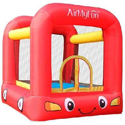 AirMyFun Château Gonflable de Trampoline pour Enfants avec Ventilateur et Sac de Rangement, Jumpy Car Rouge/Jaune A82005