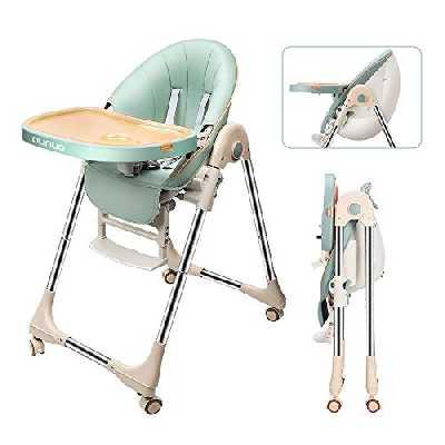 OUNUO Chaise Haute Enfant , Chaise Haute Bébé Evolutive, Pliable, Réglable, Nettoyage facile, Avec Roulettes (vert)