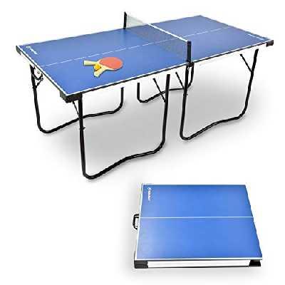 WIN.MAX Table de ping Pong Pliable de Taille Moyenne, Pré-assemblé, 182x87 cm, Mini Table de Tennis de Table Portable avec Filet, 2 pagaies et 2 balles, Facile à Ranger