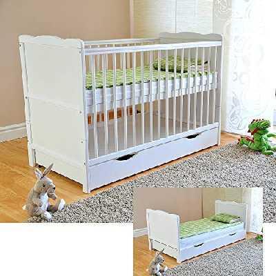 Lit bébé à barreaux avec tiroir et couvercle - Lit bébé avec matelas en mousse à l'aloe vera - Rails dentaires - Hauteur réglable - Blanc - Convertible en lit junior