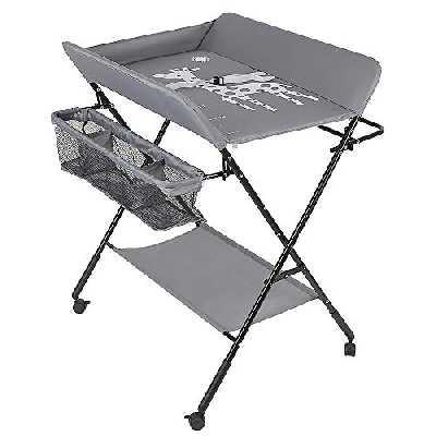 Table à Langer Pliable et Portable, Table a Langer Pliante Chambre Bébé Réglable en Hauteur (Gris)
