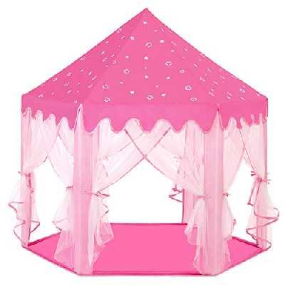 SONGMICS Tente de Jeu Enfant, Tente de Jeu, avec Filet,Tente Princesse Château de Intérieur & Extérieur, pour 3 Enfants Maximum, 140 x 120 x 135 cm, Rose LPT601P01