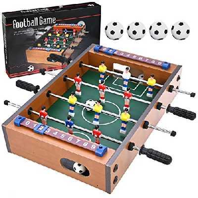 GOLDGE Babyfoot de table, babyfoot multi-jeu, babyfoot, babyfoot, pour enfants et adultes avec 4 ballons de football, 34,5 x 23 x 8 cm, bois, multicolore