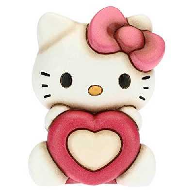 THUN - Hello Kitty Hello Kitty avec cœur - Accessoires pour la maison à collectionner - Ligne Hello Kitty - Format moyen - Céramique - 10 x 8,9 x 13,1 cm (H)