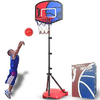 HAHAKEE Panier de Basket pour Enfants,Ajustable Portable Ensemble,Hauteur Réglable de 110-185 cm,Jeux Intérieur Exterieur Jouet Ballon de Basket avec Ballon et Pompe pour Garçon Fille 3-8 Ans