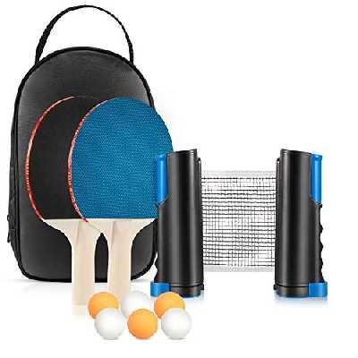 Tencoz Set de Tennis de Table avec 2 Raquettes Ping Pong, 6 Balles et Filet Rétractable, Kit de Ping Pong Portable Professionnel Table Tennis pour Interieur Exterieur Enfant Adultes Jeu