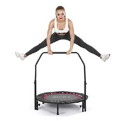 MaxKare Trampoline de rebond pour enfants - Pour adultes - Mini trampoline d'extérieur et d'intérieur - Pliable - Avec poignée en mousse réglable et coussin de sécurité - 101 cm