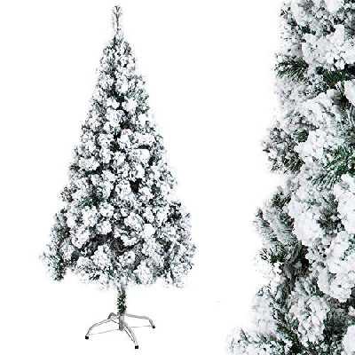 OZAVO Sapin Noël Arbre Artificiel avec Neige Blanche épaisse Exterieur Sapins Naturel Vert Matière PVC 210cm Support en Métal pour Décor de Jardin Maison