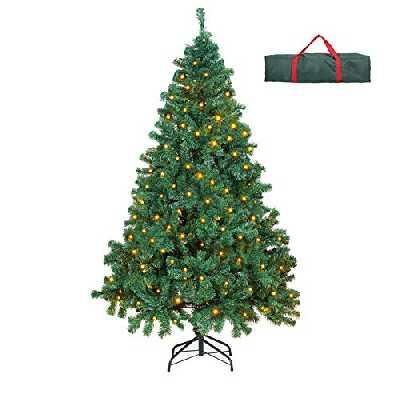 OUSFOT Sapin de Noël Artificiel avec 400 LEDs Arbre de Noël 180cm Décoration de Fête 800 Branches pour Noël, Blanc Chaud
