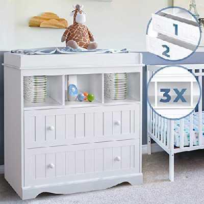 Infantastic® Commode à Langer - avec 2 Tiroirs et 3 Compartiments Ouverts, 93.5 x 50 x 88cm, en Blanc - Table, Plan à Langer, pour Bébé, Chambre d'Enfant