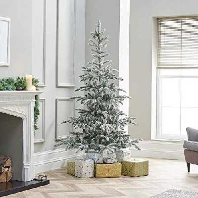 Powzz ornament 8ft / 240cm Sapin de Noël Artificiel en Sapin Nobilis enneigé - Aiguilles Mixtes en PVC et PE avec 1016 Embouts de Branche de Finition givrée fabriqués à la main-8ft / 240cm