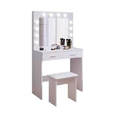 Coiffeuse avec Miroir et Tabouret LED, Hollywood Style Table de Maquillage avec 2 Grands tiroirs, 80x40x140cm, Blanc