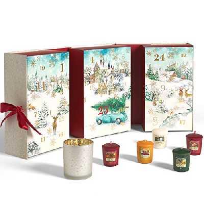 YANKEE CANDLE Calendrier de l'Avent 2020 Livre | Coffret Cadeau Bougies parfumées de Noël | 12 votives, 12 Bougies Chauffe-Plat et 1 Support votif | Collection Magique du Matin de Noël