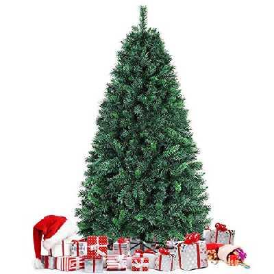 amzdeal 1,8m Sapin de Noël, Arbre de Noël Artificiel à 750 Branches Articulées, Feuilles Ignifuges, Socle en Fer Solide, Montage Facile, Décoration Noël pour Maison, Magasin, Bureau, Extérieur