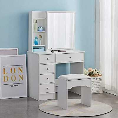 CLIPOP Coiffeuse moderne blanche avec 1 miroir coulissant, 5 tiroirs de rangement et tabouret, commode de chambre à coucher