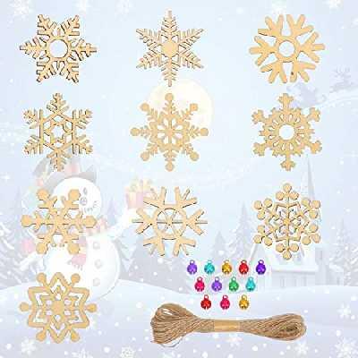 LAITER 80 Pcs Flocons Suspendus pour Arbre de Noël Ornement en Bois Naturel en Forme de Flocon de Neige pour Sapin Fenêtre Décoration de Fête avec Clochette Multicolore et Ficelle en jute