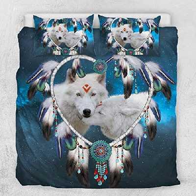 ZESHIZE Parure de lit motif attrape-rêves en 3D, microfibre douce avec fermeture éclair, housse de couette et taies d'oreiller, pour adolescents adultes (loup blanc, 220 x 240 cm)