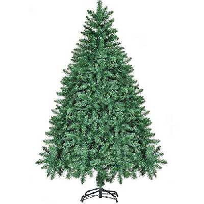 CHORTAU Sapin de Noël Artificiel 180cm 800 Branches, Arbre de Noël Matériel PVC Étanche Résistant au Feu Résistant à l'Humidité, Sapin Noel Vert avec Support Métallique