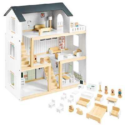 Mamabrum Maison de Poupées en Bois 70 x 30 x 60 CM pour Enfants + 3 Ans avec Grande Terrasse 4 Figurines, 3 Etages, 2 Chambres, Cuisine, Salon & 19 Pièces Mobiles (N71 & CE)