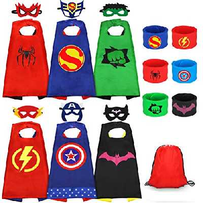 Jojoin Capes de Super-héros pour Enfants, 6PCS Jouets de Super Heros Costumes avec 6 Masques de Super-héros, 6 Slap Bracelets, 1 Sac, Halloween Carnaval Fête Partie Cadeau pour Enfant Filles Garçons