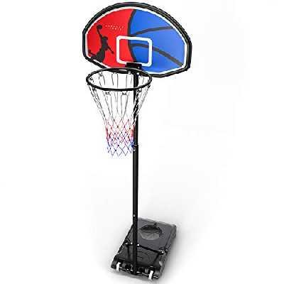 HAHAKEE Panier de Basket Exterieur sur Pied pour Enfants/Adulte, Hauteur Réglable de 152-213 cm, Portable Panier de basket avec Poteau Panneau et roulettes