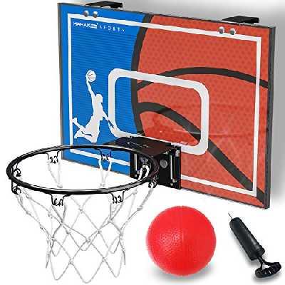 HAHAKEE Mural Mini Panier de Basket Enfant Interieur, Jeux Jouet Ballon de Basket avec Ballon et Pompe pour Garçon Fille