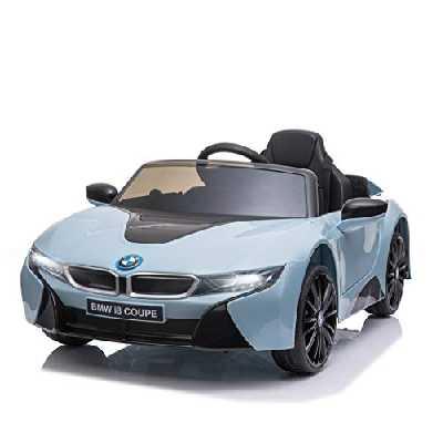 HOMCOM Voiture électrique Enfants 6 V - V. Max. 3 Km/h Effets sonores + Lumineux télécommande BMW I8 coupé Bleu