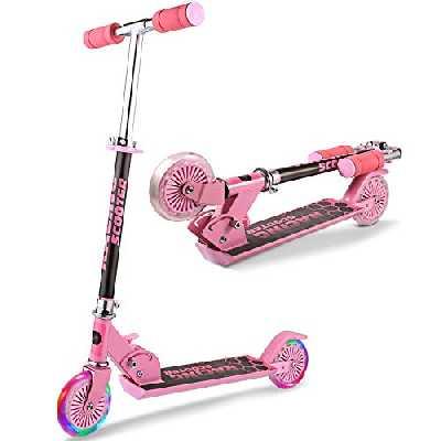WeSkate Trottinette pour Enfants avec 2 Roues Lumineuses Scooter en Portable pour 4-12 Ans, Modèle Pliable, Poignées Ajustable, Jusqu'à 110lb (Rose 1)