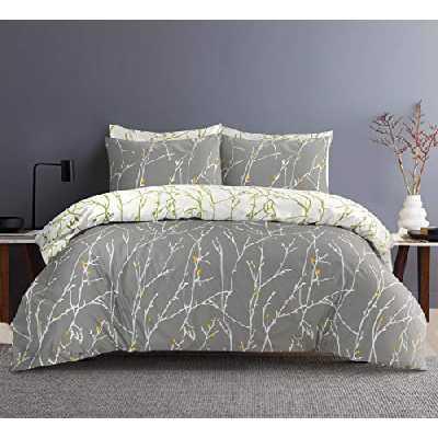 SeventhStitch – Parure de lit 3 pièces 100 % percale de coton 200 fils/cm² réversible blanc / noir / gris anthracite, parure de lit double king size