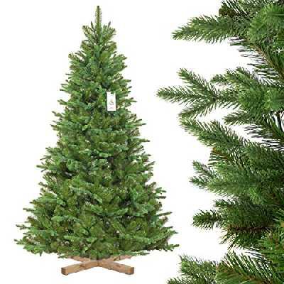 FairyTrees Sapin de Noël Artificiel, Sapin de Nordmann Noble, matériel PU + PVC, Socle en Bois, FT25-180