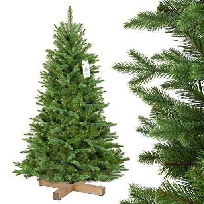 FairyTrees Sapin de Noël Artificiel, Sapin de Nordmann Noble, matériel PU + PVC, Socle en Bois, FT25-150