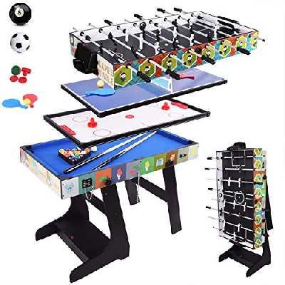 ALPIKA 4 en 1 Table Pliable Multi Jeux Pliante-Billard,babyfoot,Hockey de Table et ping-Pong Table/Tennis de Table avec boîte de Rangement d'accessoires