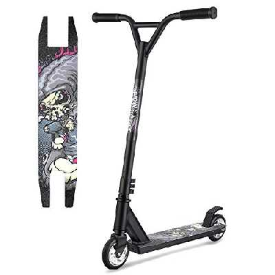 Hikole Trottinette Freestyle pour Enfant et Ado - Trottinette Pro Résistant aux Acrobaties et Sauts,100kg de Charge,80 cm de Hauteur (Noir x1)