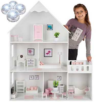 Kinderplay Grande Maison Poupee Bois - de poupée Barbie, Version avec Accents Roses, avec 38 Accessoires, Maison de Poupee modèle GS0023B