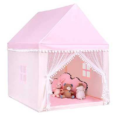 Costway Tente de Jeu Enfant Château Intérieur de Princesse / Prince, Cadre en Bois, Couverture en Coton, Espace Privé pour Enfant, pour Enfants (Rose)
