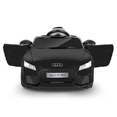 Metakoo Voiture Électrique Audi TT RS, 12V Véhicule Électrique Enfants avec Télécommande 2.4GHz, Vitesse Max. 5Km/h, 2X Moteur 25W, Feux LED, Effets sonores, Lecteur MP3, AUX & USB, Jusqu'à 30Kg-Noir